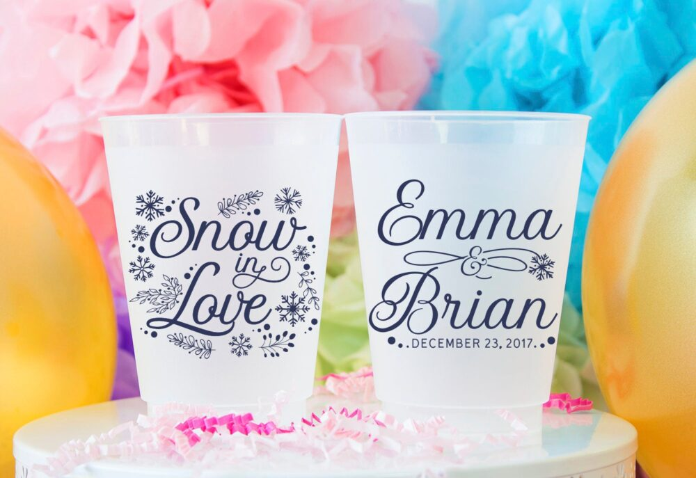 Snowflake Wedding Personalized Plastic Cup, Winter Party Cups, Snow in Love Frosted Engagement Party, Cups