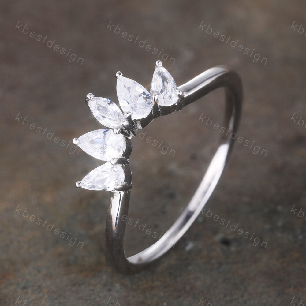 Curved Wedding Band/ Pear Shaped Diamond Simulant Ring/ Unique Cluster Stacking Cz Matching Sterling Sliver