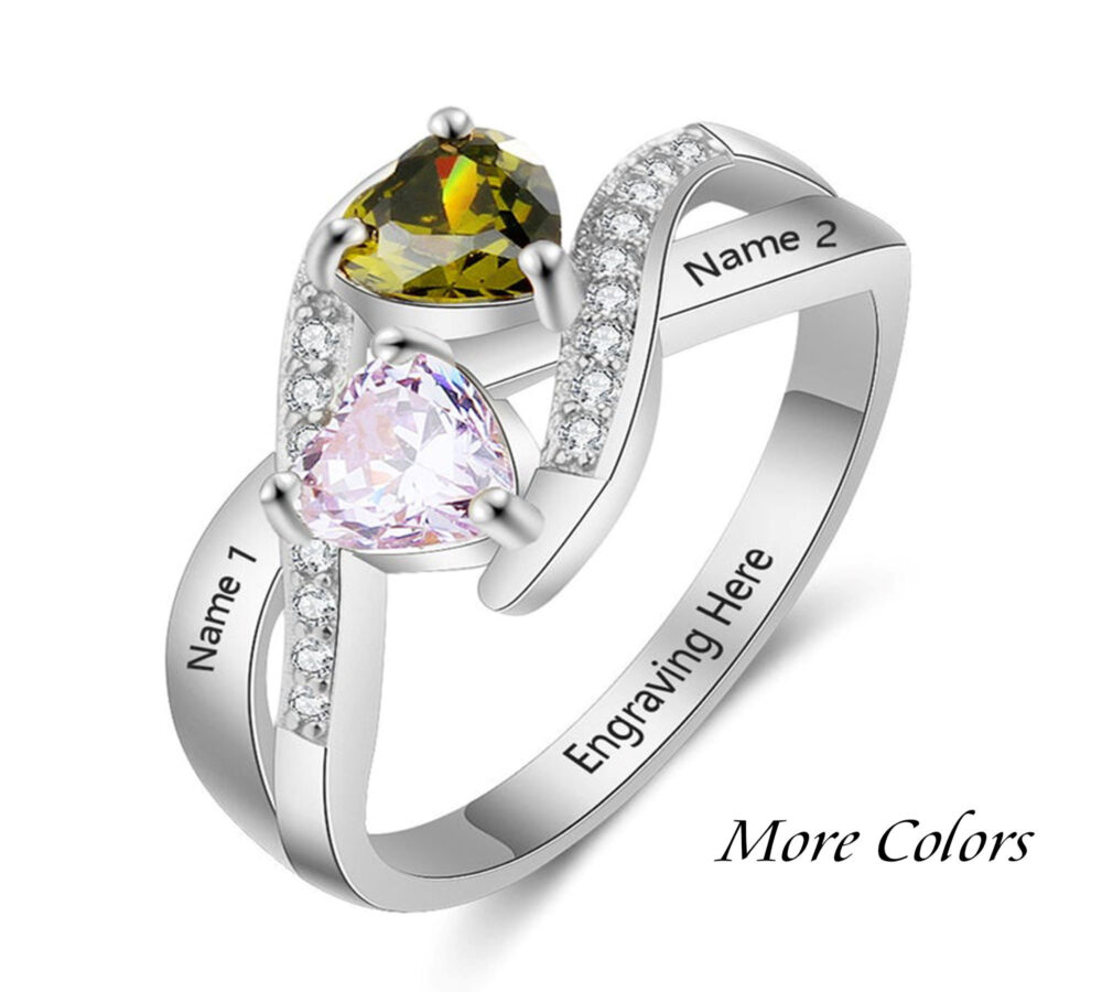 Custom Promise Ring For Her, Heart Birthstone Sterling Silver, Engraved With Birthstone, Name