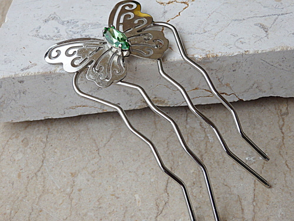 Bridal Hair Fork, Green Butterfly Accessory, Wedding Jewelry, Accessories, Metal Stick