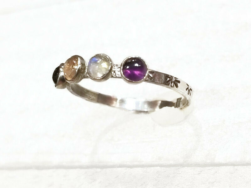 Birthstone, Sterling Silver, Personalized Mom Ring, Stars, Sunshine, Stamped Ring, Gift For Her, Gift Mom, Mother's Ring, Birthstone Ring