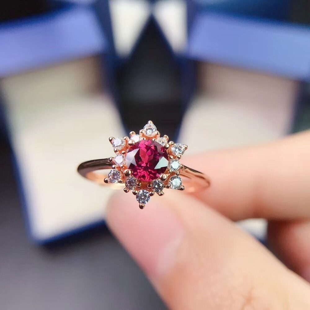 Gorgeous & Dainty Nature Garnet Ring , Sterling Silver & 18K Rose Gold Plated Anniversary Gift, Women's Ring,gift For Mom ,mother Ring