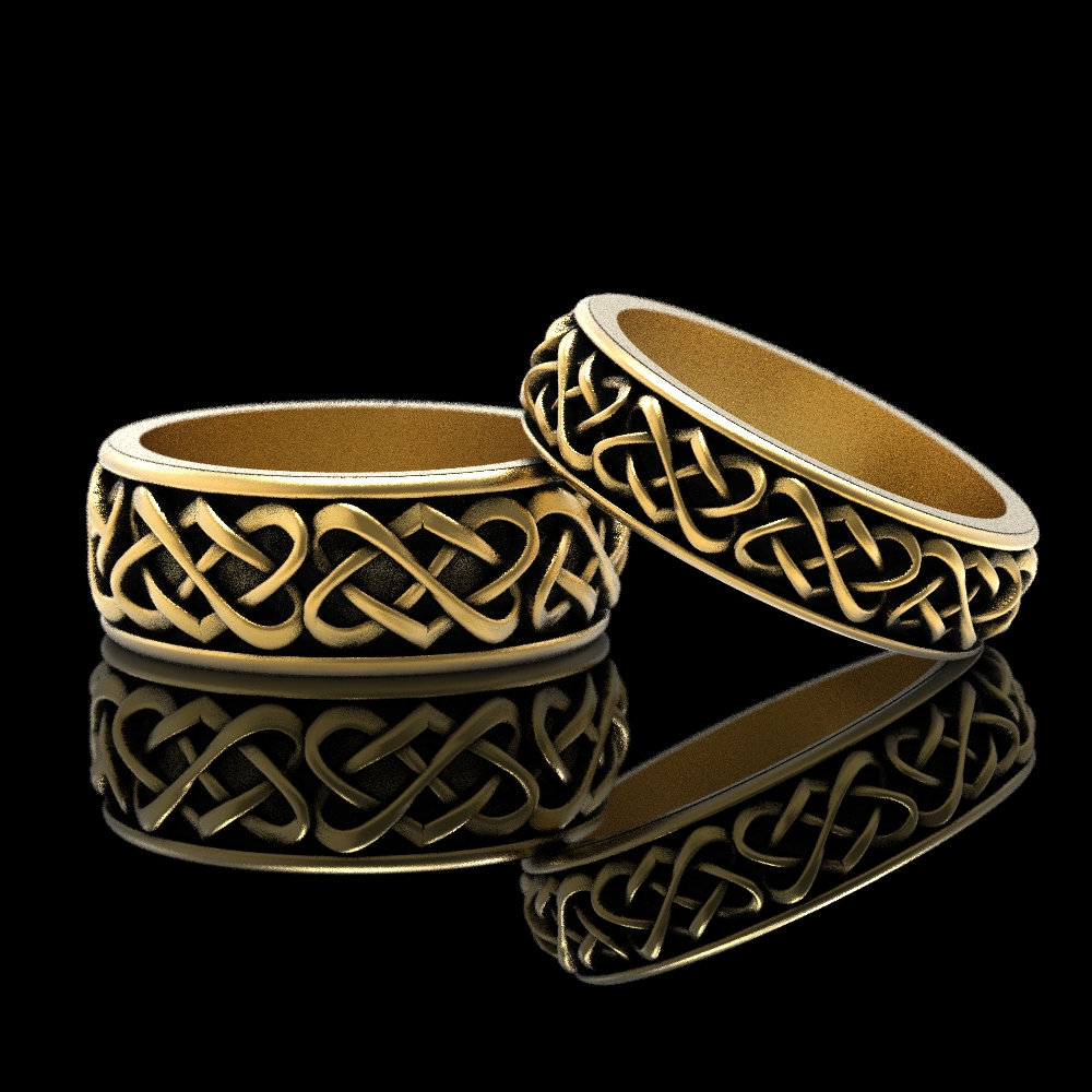 Gold Celtic Wedding Ring Set, Matching Bands, Heart Band, Ring, His Her Rings, Platinum 1265