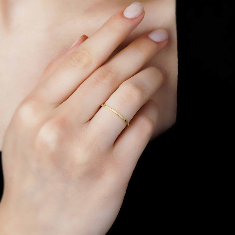 1mm Gold Plain Wedding Band Ring - 14K Solid Set Simple His & Hers Rings