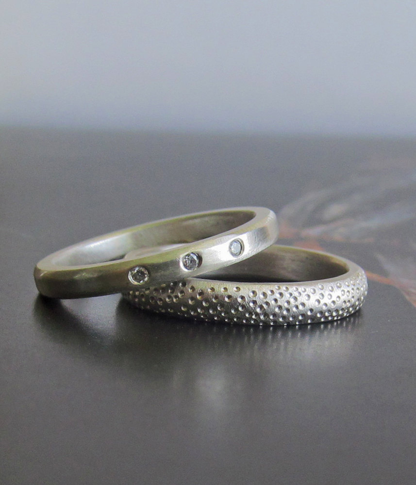 Wedding Band Set, Ocean Coral Alternative Engagement Ring His, Her, Theirs -Recycled Ethical Handmade By Lolide