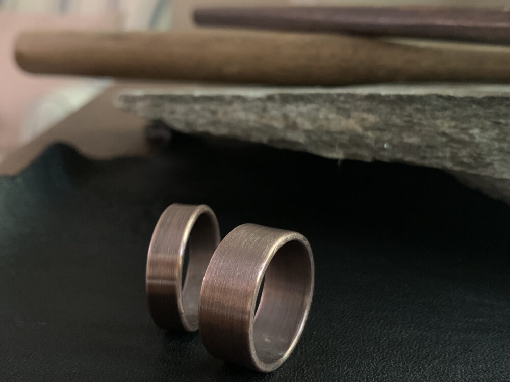 Solid Copper Wedding Band Ring Set - 9mm Or 6mm Width Unique Rustic 7Th Anniversary His & Hers Jewelry Gift