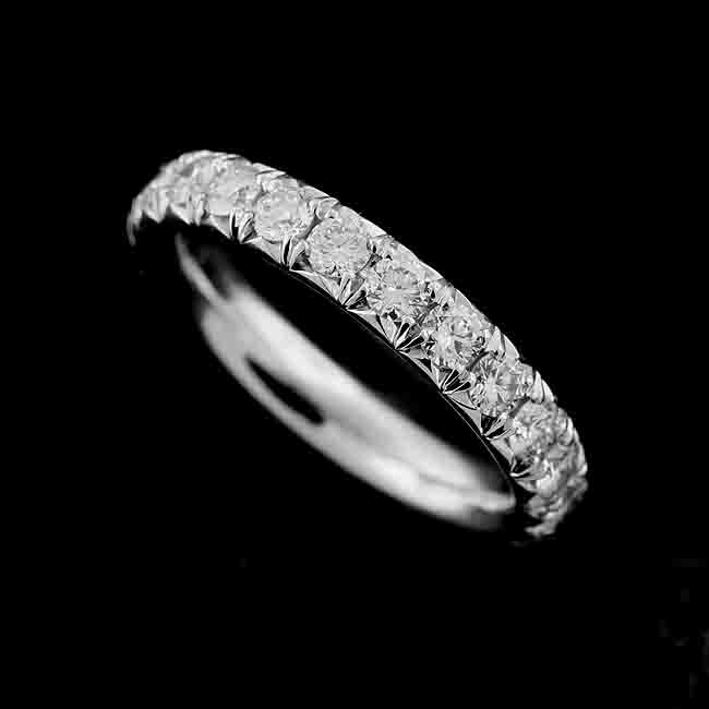 Eternity Diamond Wedding Ring, Women's Band, French Cut Down Classic Platinum Band 3.45mm Wide