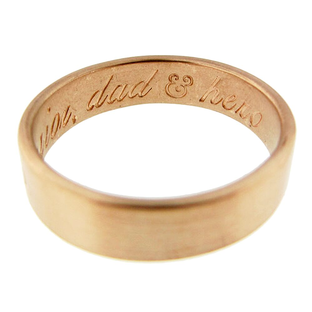Personalized Solid Gold Ring   Hand Stamped Vows 14K Wedding Band Golden Anniversary Gift For Dad Mom Girlfriend