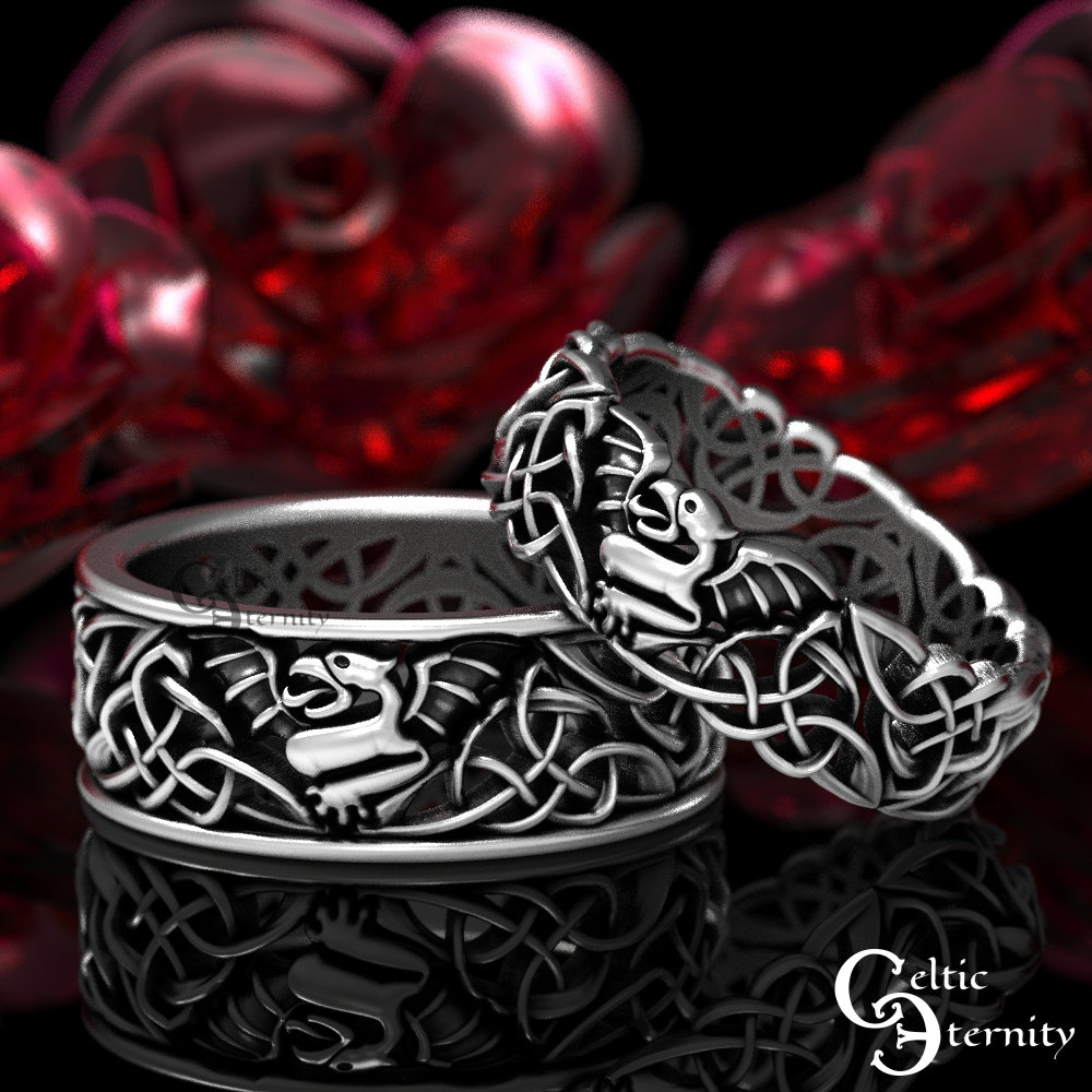 sterling Dragon Wedding Ring Set, His Hers Bands, Celtic Silver Rings, Matching 1441 1442