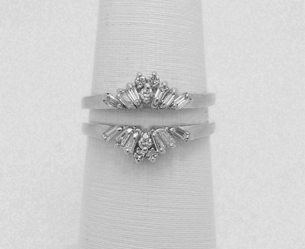 1 Ct Baguette & Round Cut Simulated Diamond Solitaire Enhancer Guard Wrap Wedding Band Ring 14K White Gold Over Sterling Silver