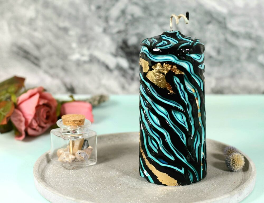 Black & Blue Pillar Candle, Carved Candle With Gold Decor