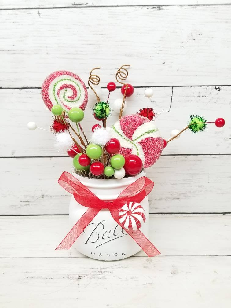 Christmas Candy Cane Decorations, Tiered Tray Decor, Centerpiece, Mason Jar Gift