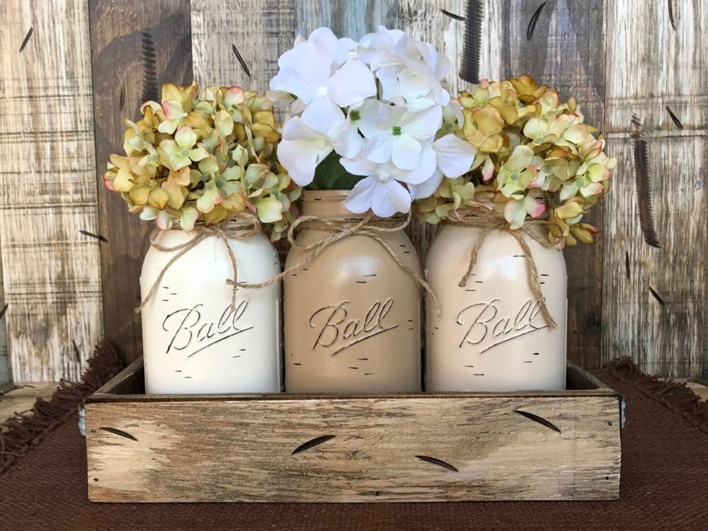 Mason Jar Decor Centerpiece | Flowers Optional -Antique Wood Tray Rusty Handles - 3 Ball Canning Painted Quart Jars Distressed Red White Blue
