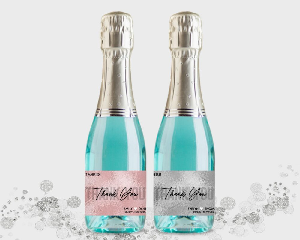 Wedding Party Favor - Mini Champagne Bottle Labels, Customized Blush Pink Or Silver Labels Diy Print, Printable Pdf