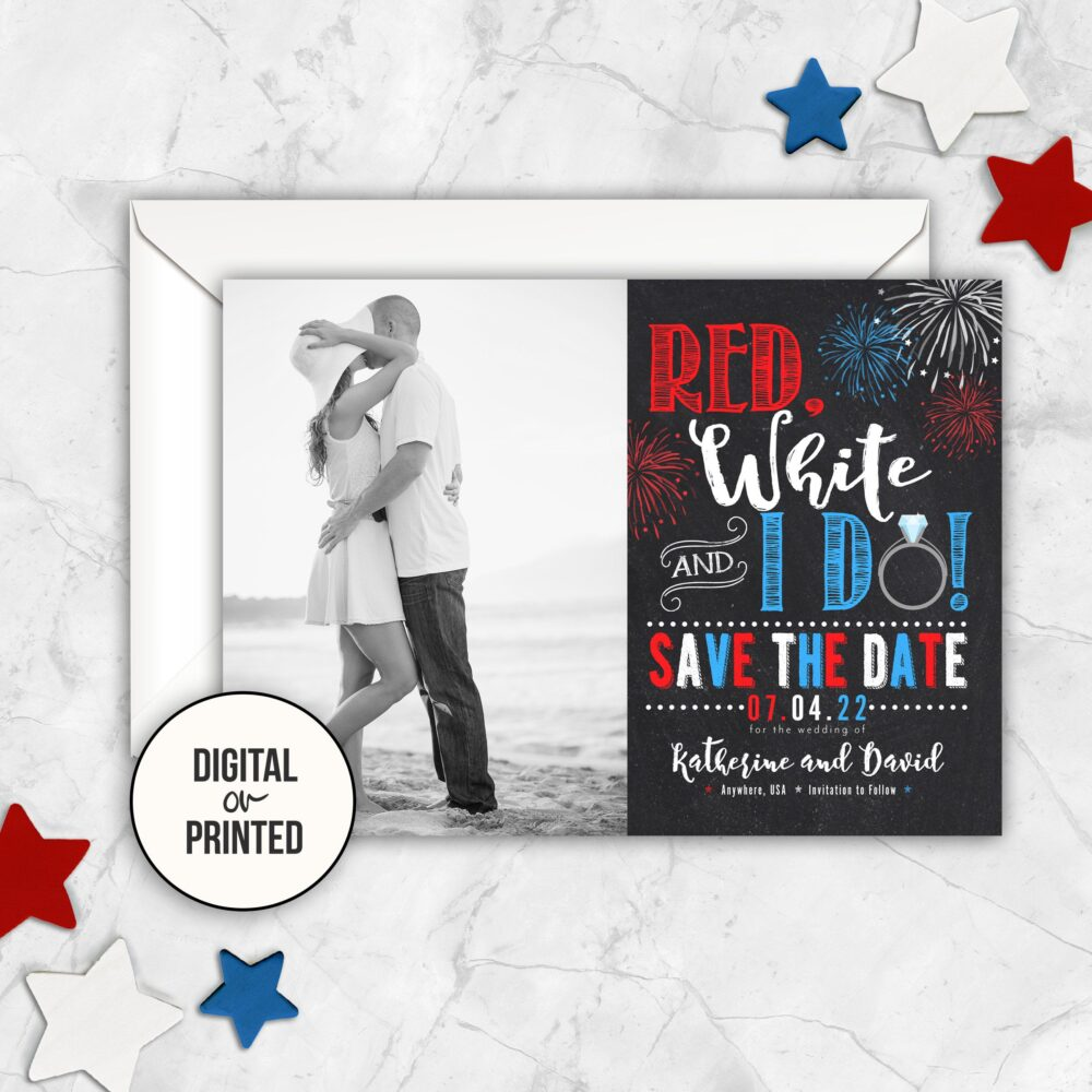 4Th Of July Wedding Save The Date Magnet Fourth Printable Photo