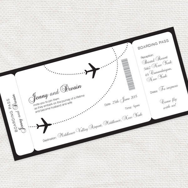 Come Fly With Me Boarding Pass Wedding Invitation - Printable File Aviation, Airplane, Destination Black & White Customised