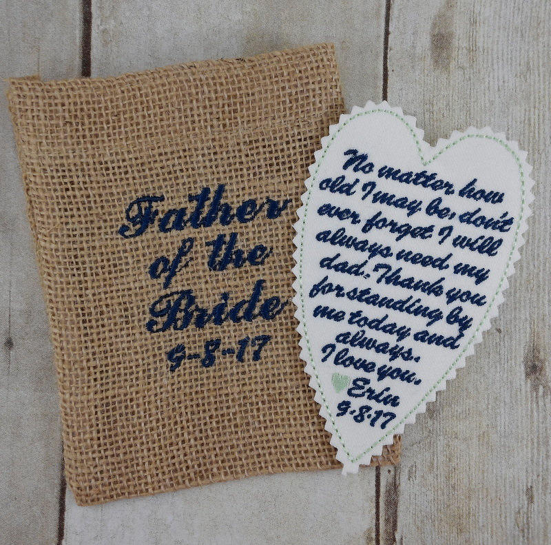 Wedding Tie Patch - Gift From Bride To Dad Brother Groom Best Man Love Poem Embroidered On Keepsake Burlap Bag A43