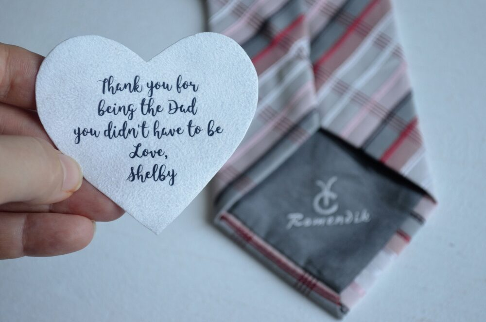 Wedding Tie Patch Stepdad From Daugher Gift Thank You Dad Best Father Bride For Step Day Stepfather Groom
