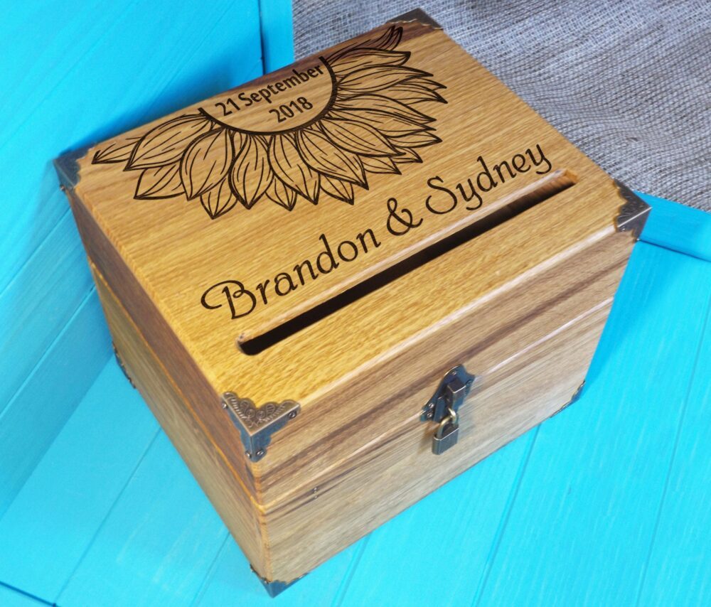 Card Box Sunflower - Rustic Wedding Wooden Card Box Personalized- Lockable Wooden