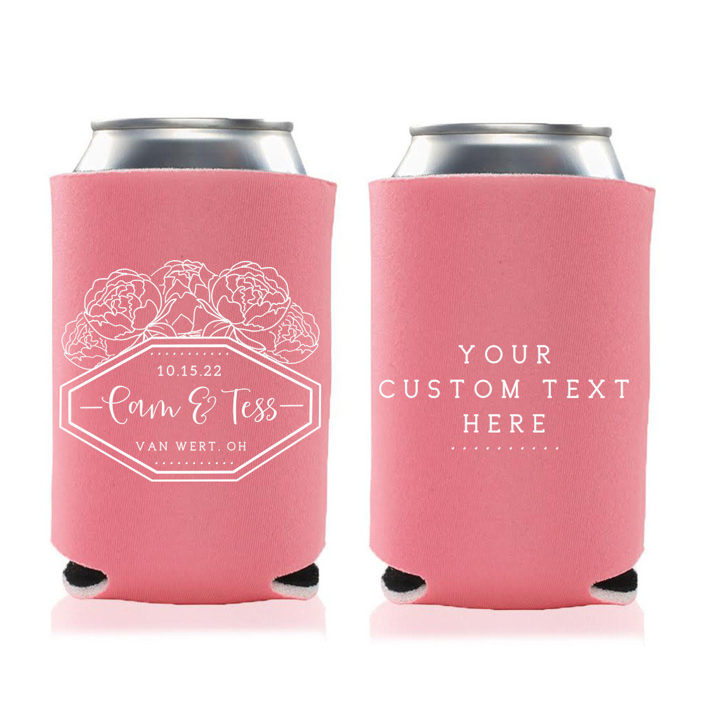Spring Wedding Favors - Peony Custom Personalized Can Coolers, Reception For Guests, Stubby Holders, Spring Wedding Favors