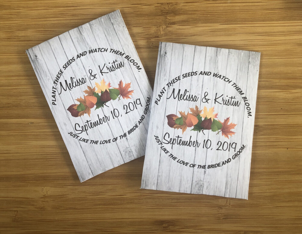 Fall Wedding Favors, Wreath, Decorations, Autumn Seed Packets, Rustic Favors