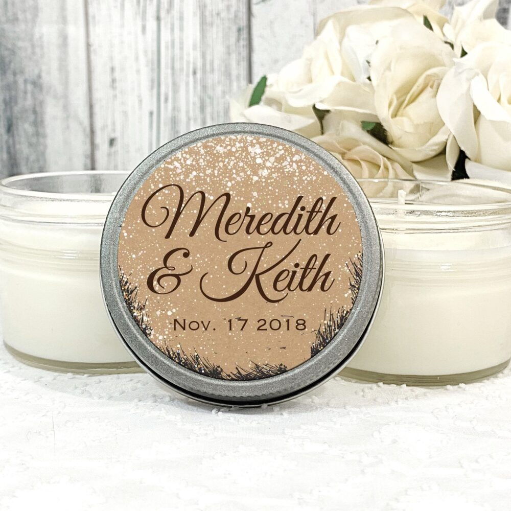 1 - 4Oz Snow Wedding Favors Winter Favor Forest Outdoor Candle