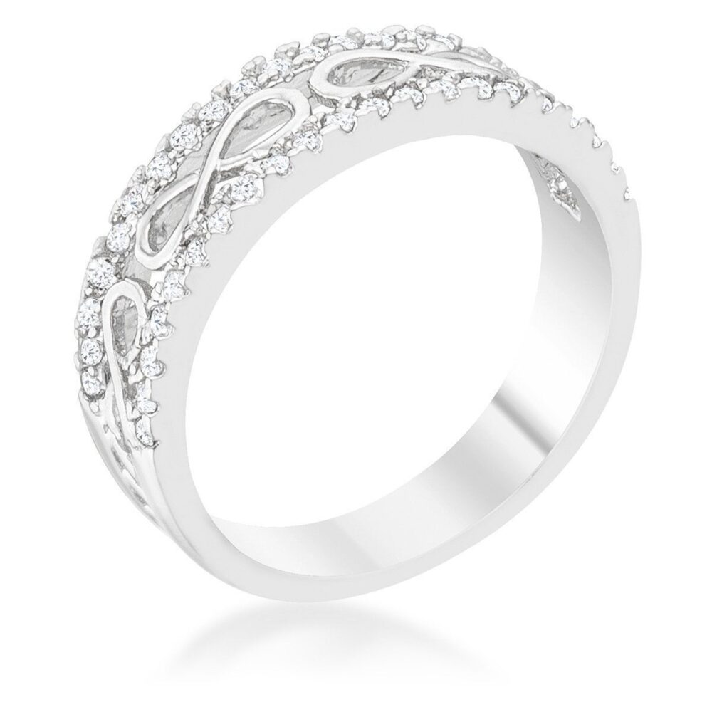 Silver Infinity Band Ring, Rhodium Contemporary Band, Crystal Eternity