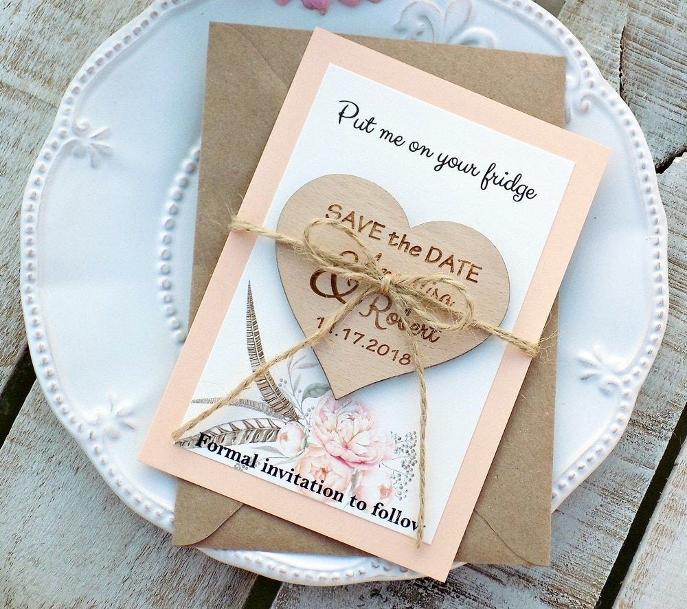 Floral Wood Save-The-Date, Romantic Save-The-Date Magnet, Boho Wedding Bohemian Wedding, Watercolor Floral, Modern Peach