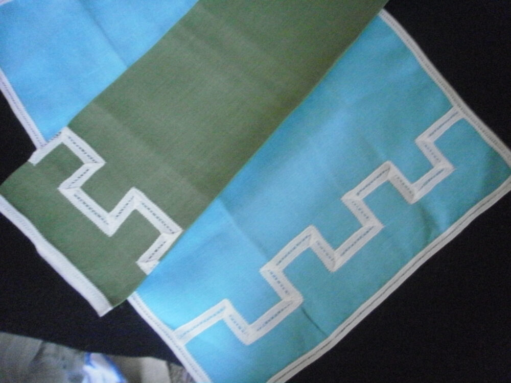 Vintage Linens Battenberg Lace Trim 1 Green & Turquoise Tea Towel Trimmed in Hand Made