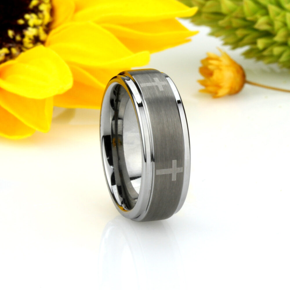 Men Women Tungsten Wedding Band 7mm Laser Engraved Cross Concaved Ring, Custom Personalized Ring | Jdtr044