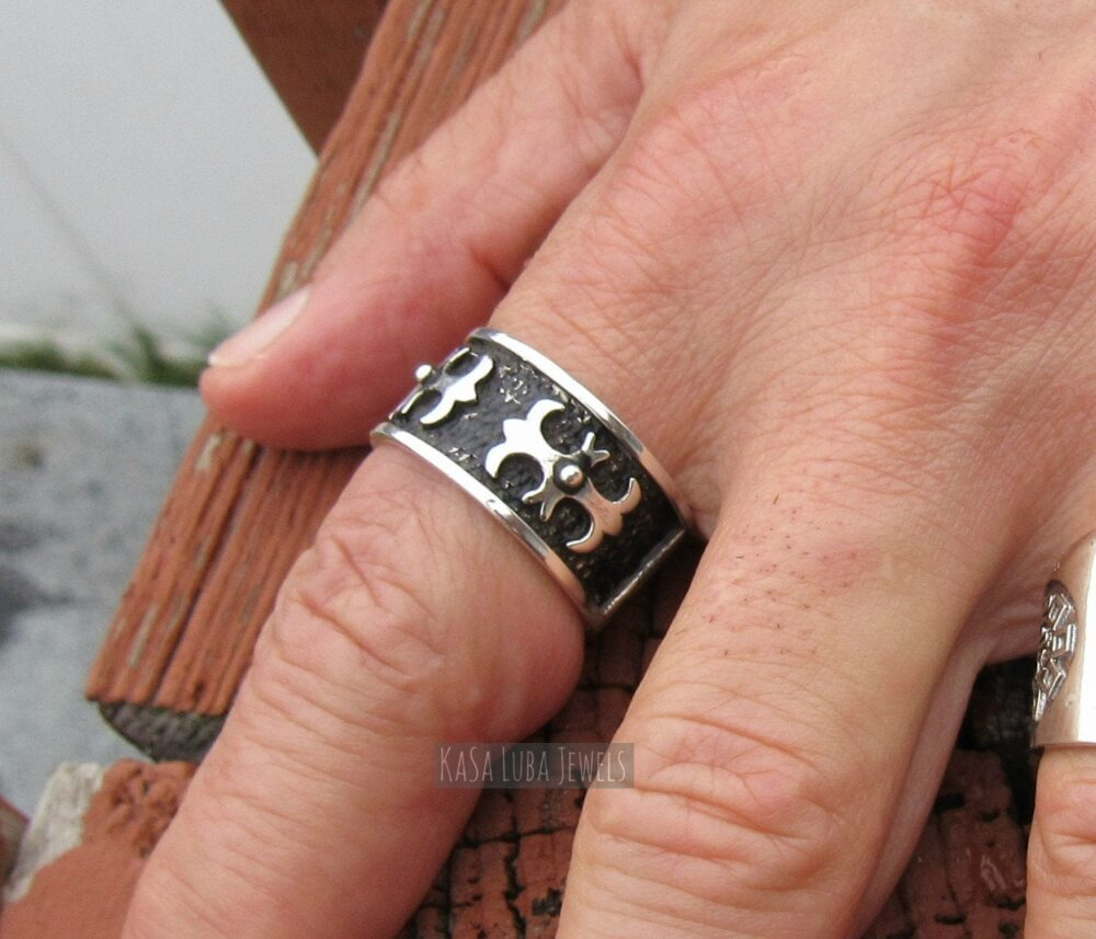 sterling Silver Mens Cross Ring, Christian Silver Ring, Thumb Band - Religious Ring Faith