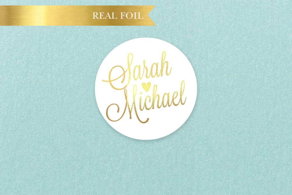 Personalized Foil Wedding Stickers, Party Custom Circle Modern Favors, Bride & Groom