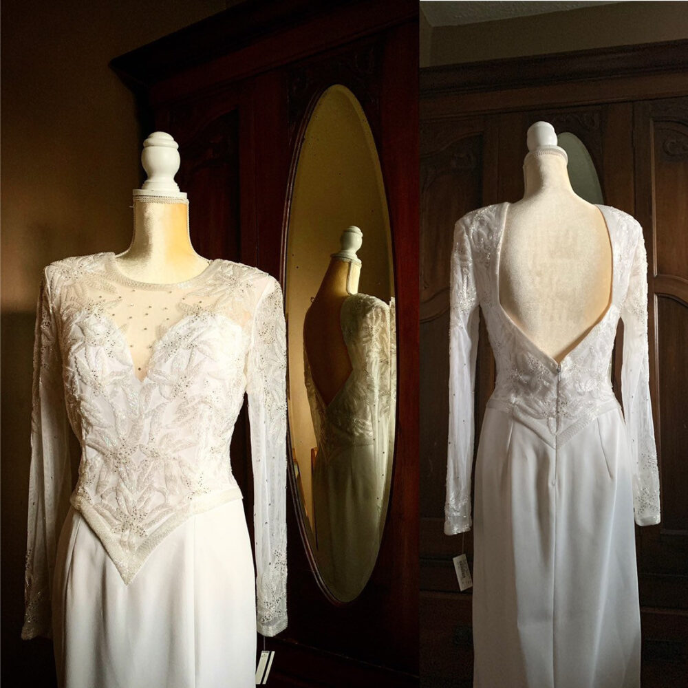 80S White Beaded Dress, Vintage Wedding Flapper Style Low Back Gown, Size 8 Dress