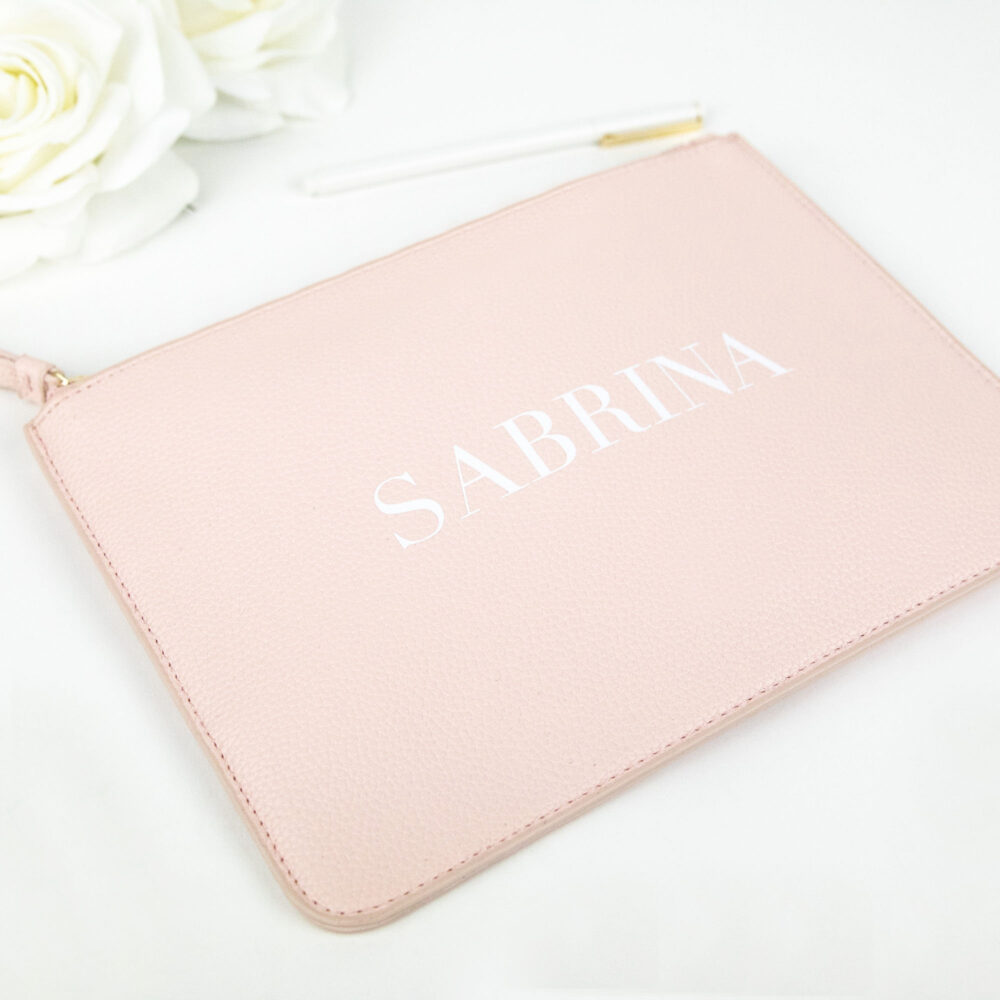 Personalized Vegan Leather Clutch - Basic Modern Serif Custom Name Makeup Cosmetic Bag For Her Mom Friend Gift Bridesmaid B-Cb05