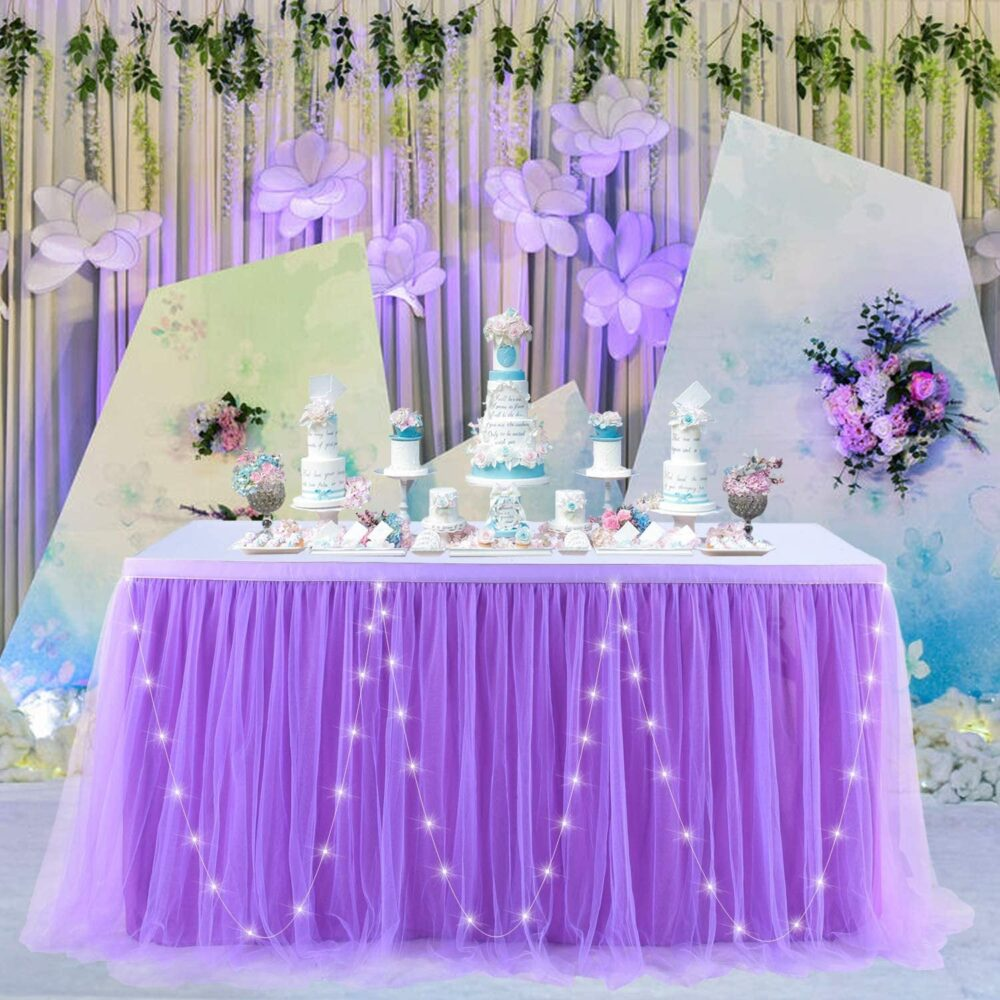 White Tulle Table Skirt With Lights 6Ft Tutu Cloth Led For Round Or Rectangle Tables Perfect Baby Show Wedding Birthday Party