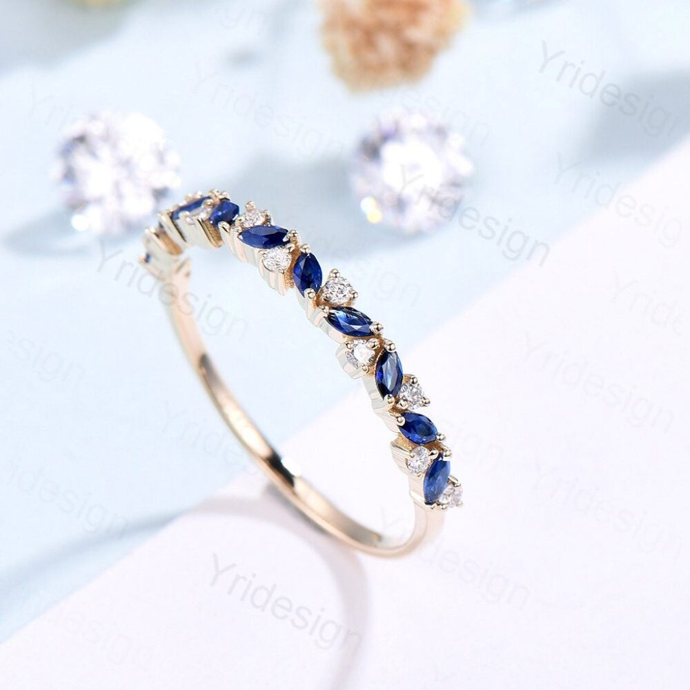 Vintage Sapphire Wedding Band , Marquise Cut Rose Gold Wedding Ring, Unique Stacking Ring Matching Bridal Anniversary Band