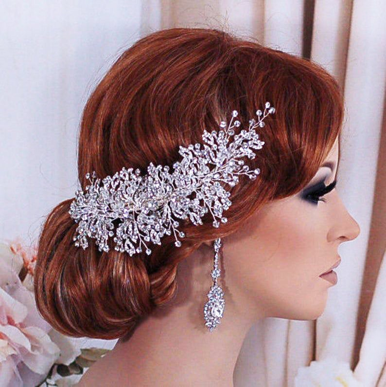 Bridal Wedding Headpiece Hair Clip Floral Rhinestone Head Piece Bachelorette Accessory Party Weddings Jewelry Brides Comb Gift Accessories