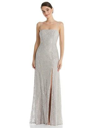 Special Order Metallic Lace Trumpet Dress with Adjustable Spaghetti Straps