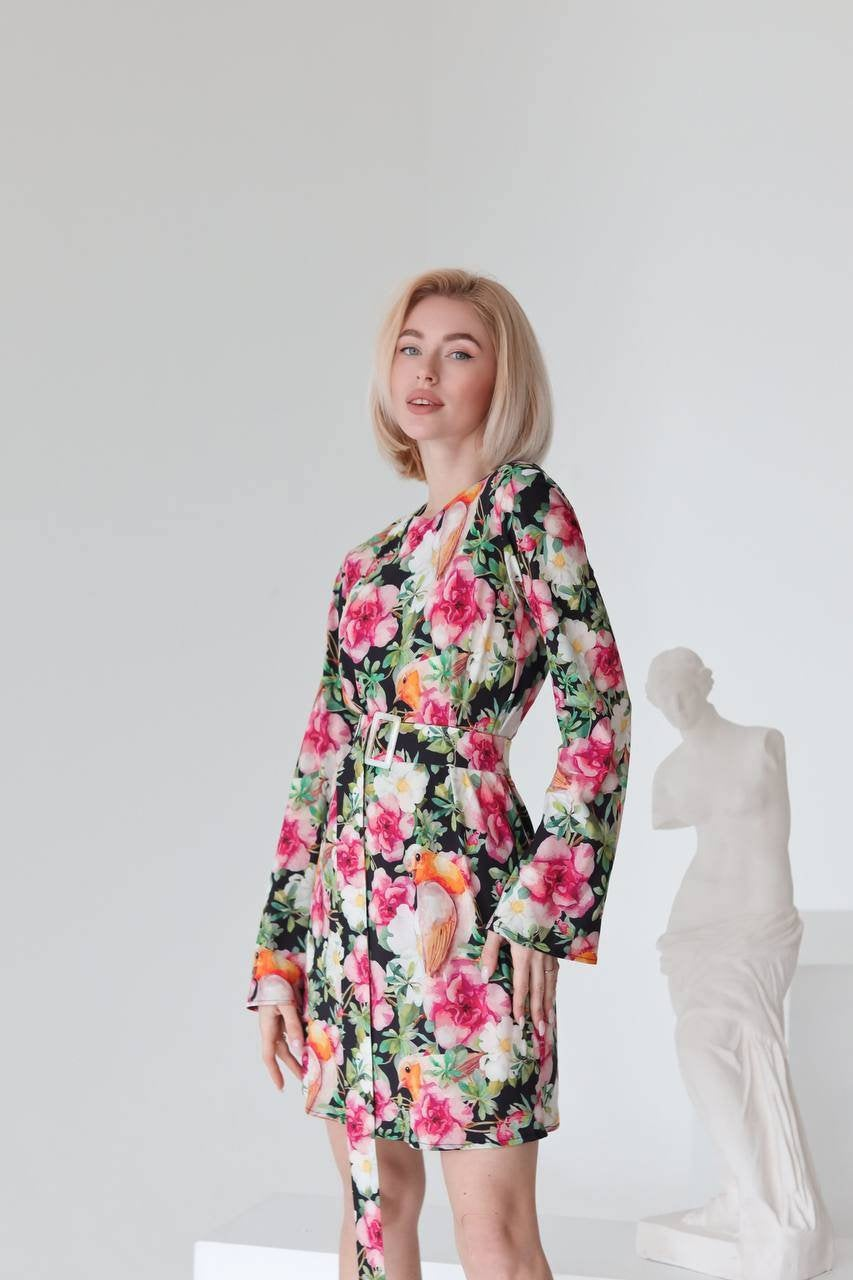 Floral Bird Print Mini Dress For Women Long Flare Sleeve Straight Fit Sashes Casual Everyday & Special Occasions Romantic