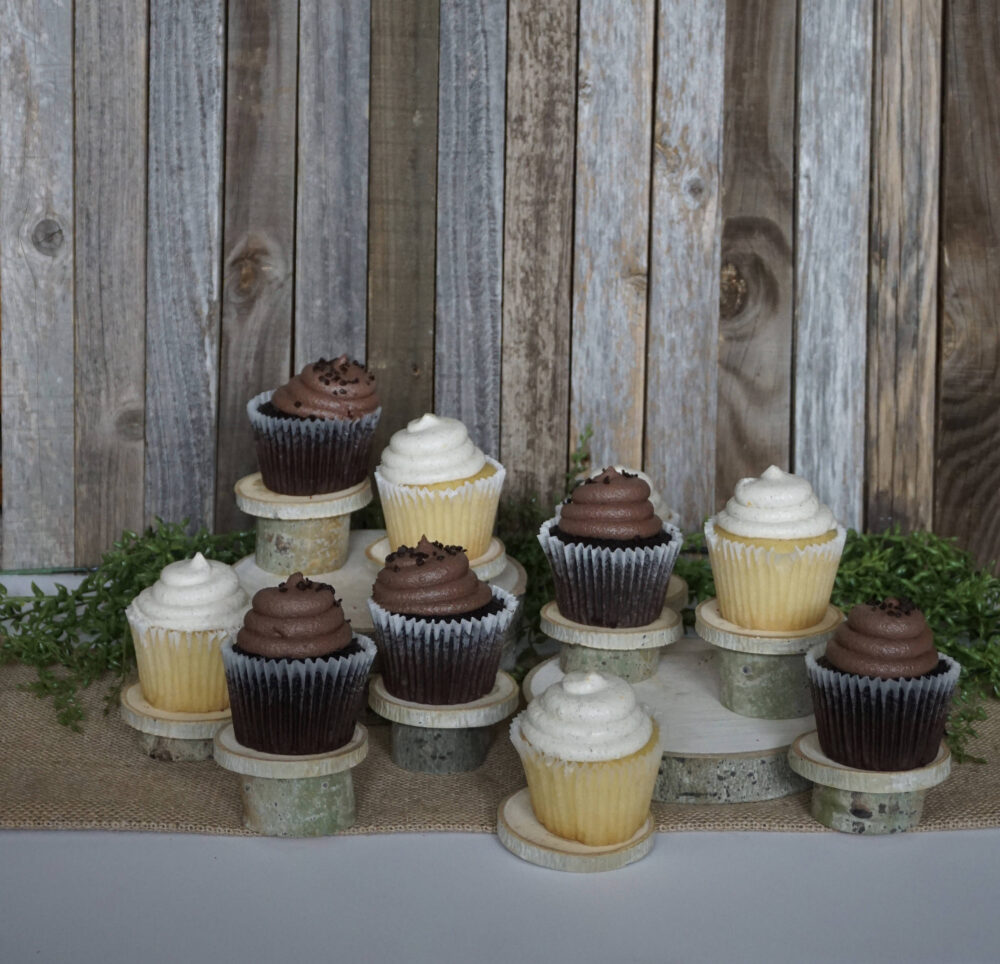 Set Of 10 Rustic Cupcake Stands - Individual Wedding Decorations Dessert Stand Wood Slices Country