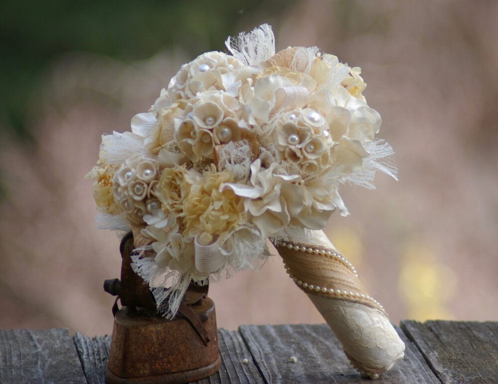Preserved Rose Burlap Lace Wedding Bouquet Pearl Bridal Sola Cones Ivory & Shabby Chic Boho