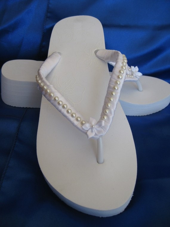 White Flip Flops Or Ivory Bridal Sandals With Pearls & Flowers