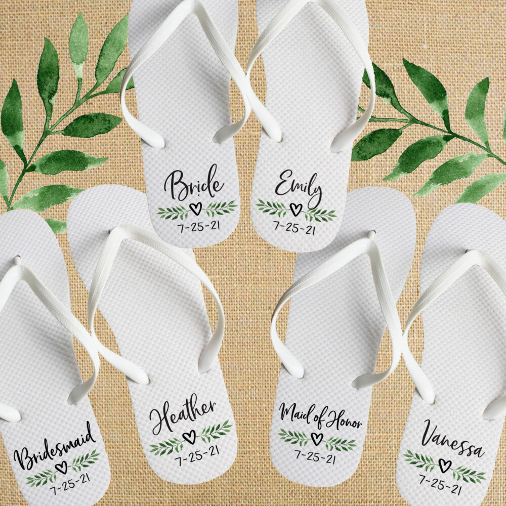 Bridesmaid Gifts For Greenery Wedding - Custom Flip Flop Sandals Bridal Party Personalized Dancing Flops Outdoor Reception