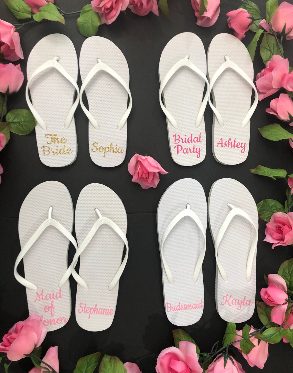 Bridal Party Flip Flops, Bride Slippers, Bridesmaid Gifts, Personalized Custom Wedding Flops