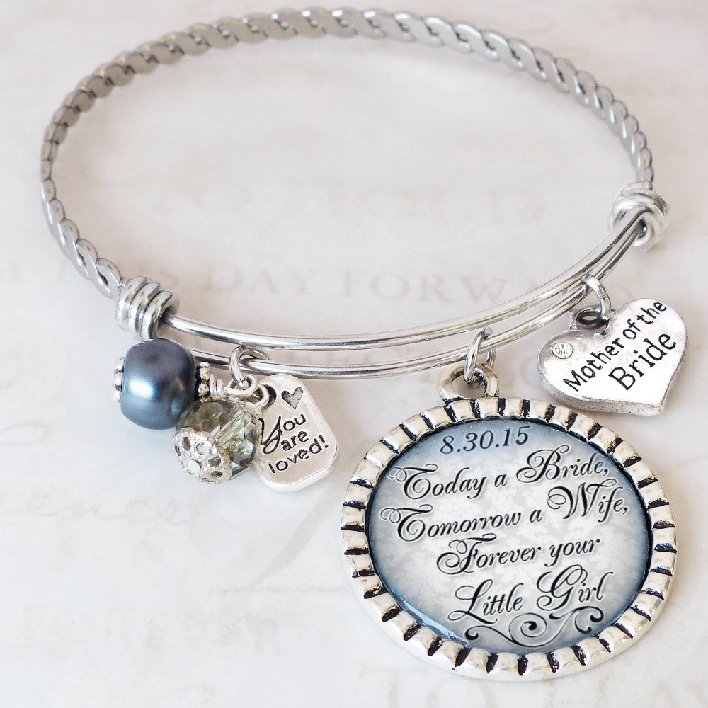 Wedding Gift For Mother Of Bride- The Bride Bangle Bracelet - From -Wedding Jewelry-Today A Tomorrow Wife- Date