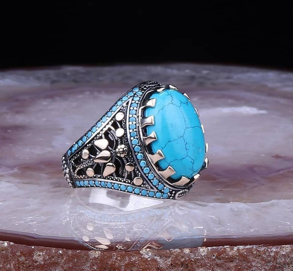 Signet Men's Ring 925 Sterling Silver, With Howlite Turquoise, Cz Garnet, Sapphire Stone Men Ring, Handmade Silver Ring, Turquoise