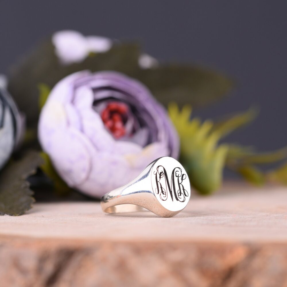 sterling Silver Signet Monogram Ring, Family Crest Wedding Initials Monogrammed Band