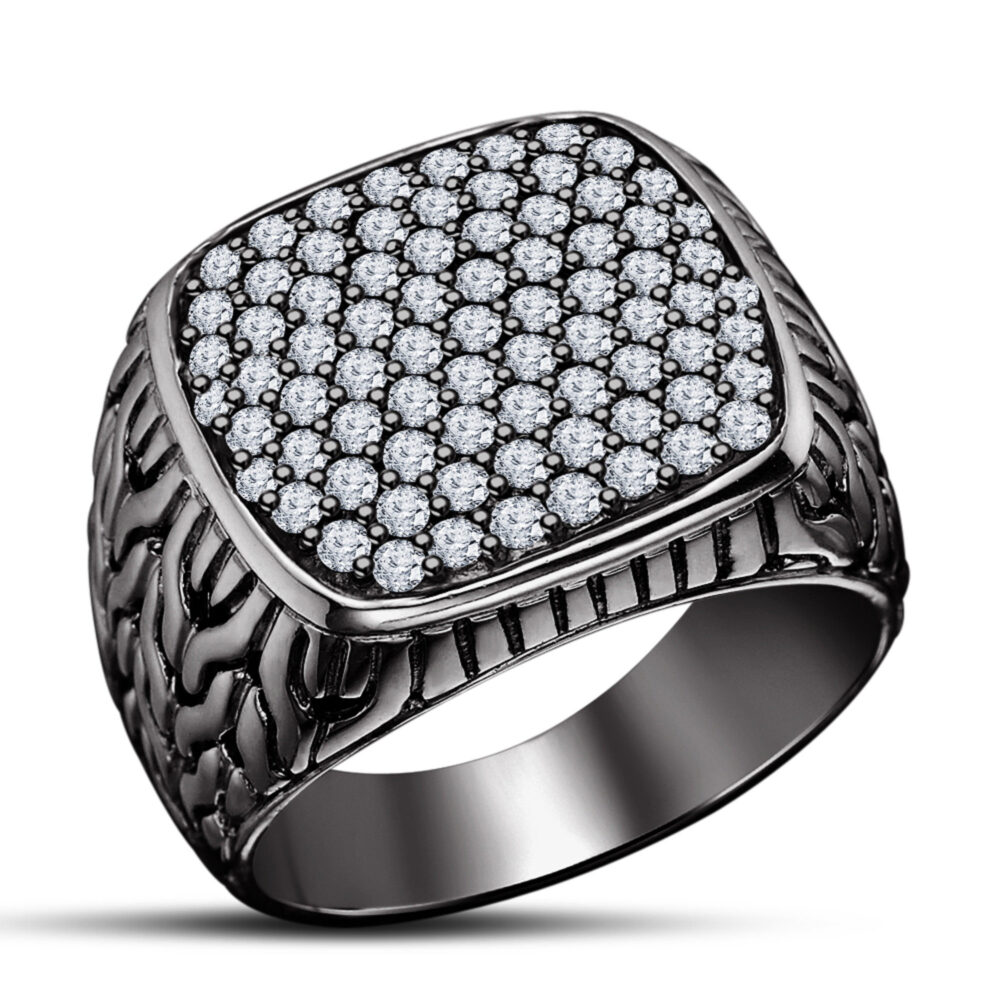 Men's Wedding Band Ring in 925 Sterling Silver 14K Black Gold Plated Simulated Diamond