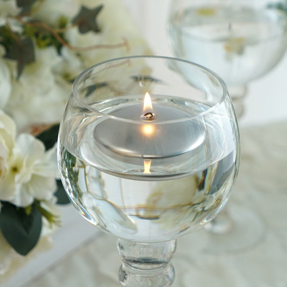 """4 Pcs 3"""" Silver Disc Unscented Floating Candles, Candles For Table Decor, Home Candle Gift, Party Favors"""