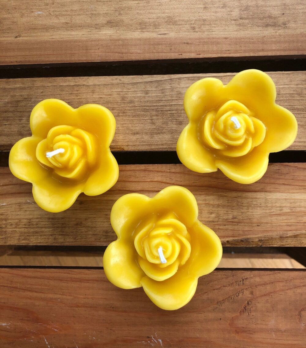 Rose Beeswax Floating Candle - Set Of 3 - Flower Candles